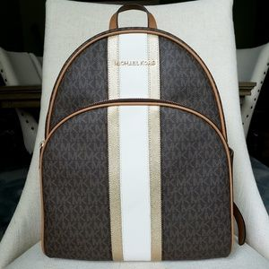 SOLD NWT Michael Kors LG Abbey backpack Brown gold